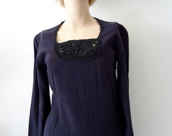 1970s Cotton Hippie Blouse / black crochet lace detail top with bell sleeves / vintage ethnic wear
