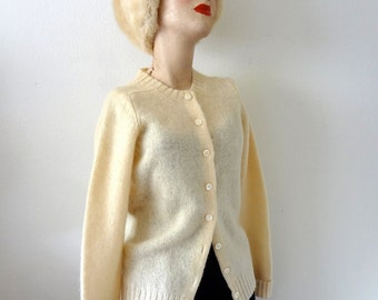 1960s Wool Sweater buttercream cardigan - vintage preppy collegiate fashion