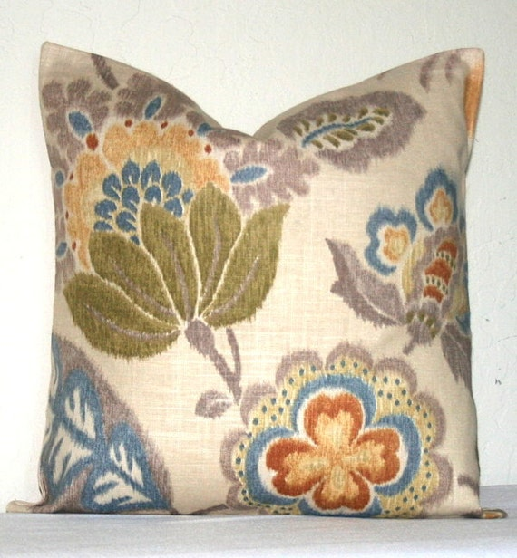 Beige Muted Floral 18 inch Decorative Pillow Cover by PatsTable
