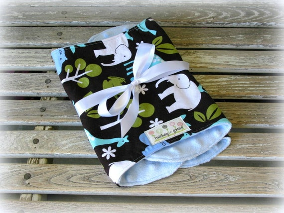 """Baby Boy Burp Cloths, Michael Miller """"Zoology"""" with Blue Minky /Baby Accessories, Baby Boy Shower Gift"""
