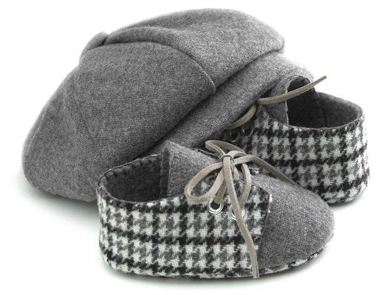 Baby Boy Hat and Shoes Set, Newsboy Wool Baby Hats. Ring Bearer Hat, Baby Christening Hat,Infant Hat, Handmade Baby Hats by pink2blue.