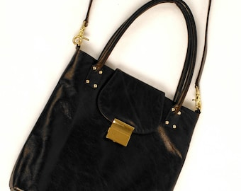 Jenna,  Double Handle and Shoulder Strap Smooth Italian Cowhide, Croco Embossed Cowhide or Ostrich Embossed Cowhide