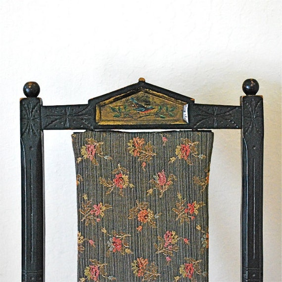 Antique Childs Folding Chair Painted Bird Detail Victorian Eastlake