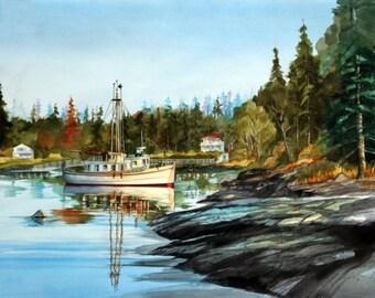 Sleepy Cove ----Watercolor By Ray Lockhart