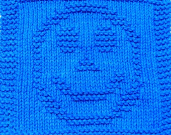 Knitting Cloth Pattern - HAPPY FACE - PDF