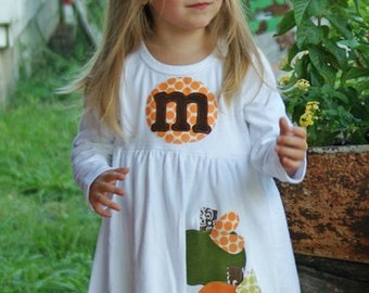 Fall Dress- Pumpkin Dress- Personalized Dress with Three Pumpkin Appliques -Choose Dress Color and Sleeve Length