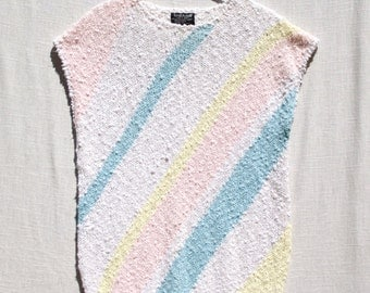 Sleeveless Pastel Top - Striped Sweater - Vintage 1980s - Great Condition