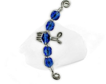 Beaded Ear Cuff, Silver with Blue Glass Beads