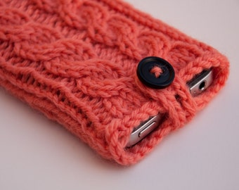 Coral Pink Double Cable Knit Phone Case (iPhone 3/4/4S/5/5S/5C/6/6+/7/7+)