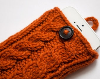 Autumn Orange Double Cable Knit Phone Case (iPhone 3/4/4S/5/5S/5C/6/6+/7/7+)