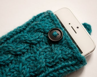 Midnight Teal Double Cable Knit Phone Case (iPhone 3/4/4S/5/5S/5C/6/6+; Samsung S3/S4/S5)