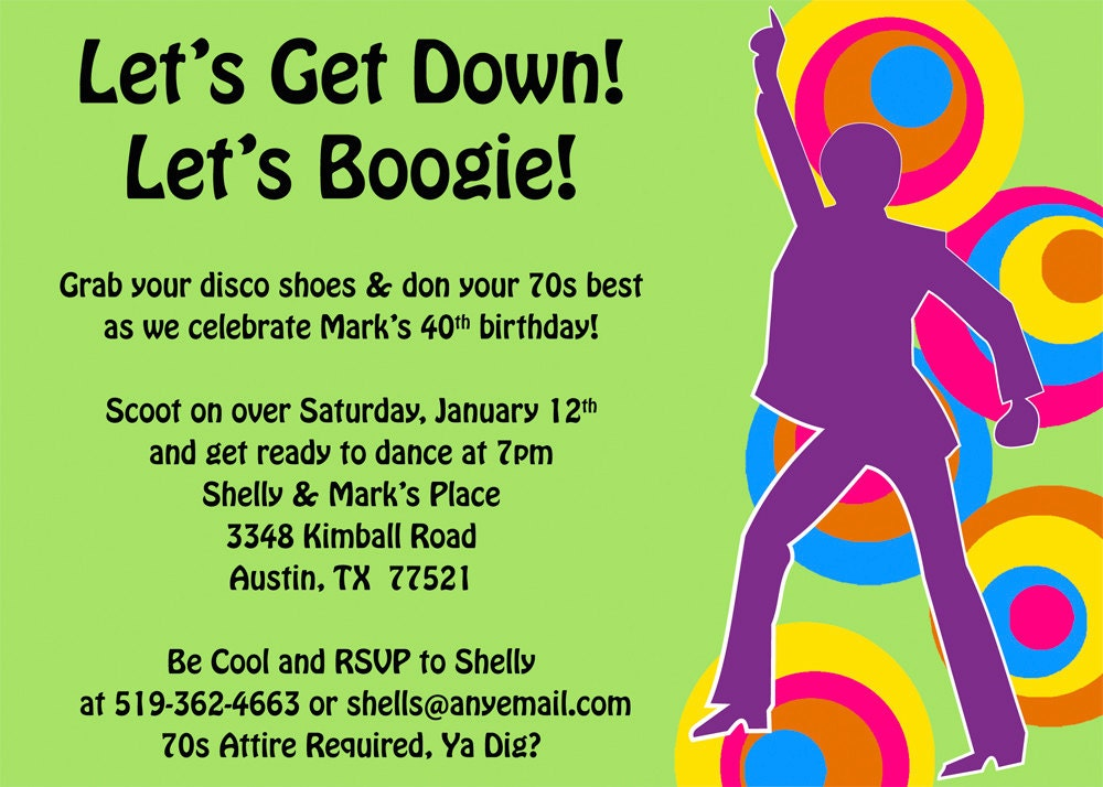 Get Down and Boogie 70s Invitation Printable by ...