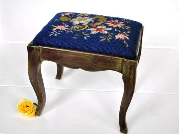 Painted Vintage Footstool. Blue Floral Needlework Upholstered Stool Ottoman Bench