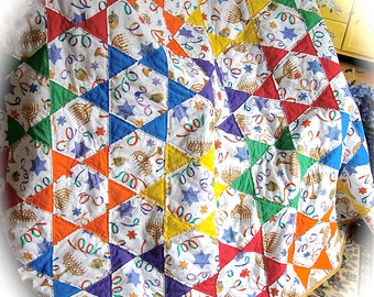 Heirloom Happy Hanukkah Patchwork Quilt of Bright Stars