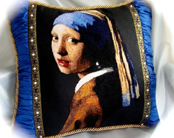 Girl with a Pearl Earring Embroidered Cross-stitch Pillow