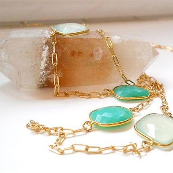 AAA Luxe Double Length, Bezel Set Pale Green Chalcedony, Apple Green Chrysoprase, Extra Long Gold Chain, Versatile Fashion Accessory