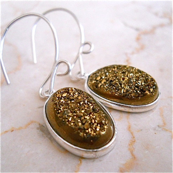 Gold Druzy, Drusy Agate Gemstone Earrings, Women's Earthy Fashion Accessory, Jewelry Geode Gift