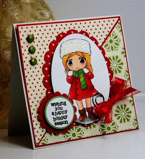 Christmas Card - Handmade Greeting Card -  Wishing You a Happy Holiday Season - OOAK
