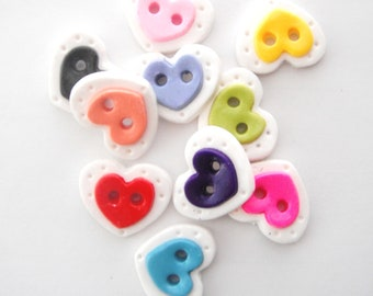 Colorful  Heart buttons handmade polymer clay buttons ( 5 )