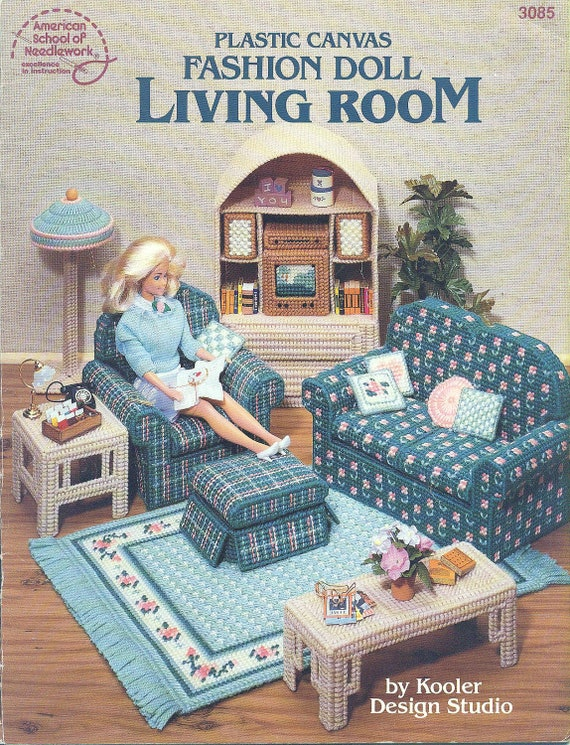 Plastic Canvas Fashion Doll Living Room Barbie Furniture