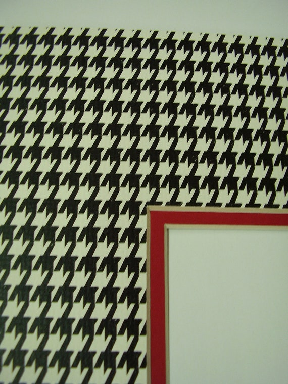 Picture Mat Double Houndstooth Print Black And White16x20