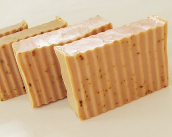 FROSTED PUMPKIN SCRUB Soap - large 5.5 oz, natural, handmade, glycerin, vegan, fall, autumn, halloween, gift