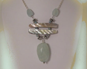 "Necklace & Earring Set, ""Tranquility"" - Shell, Aqamarine, Sterling Silver"