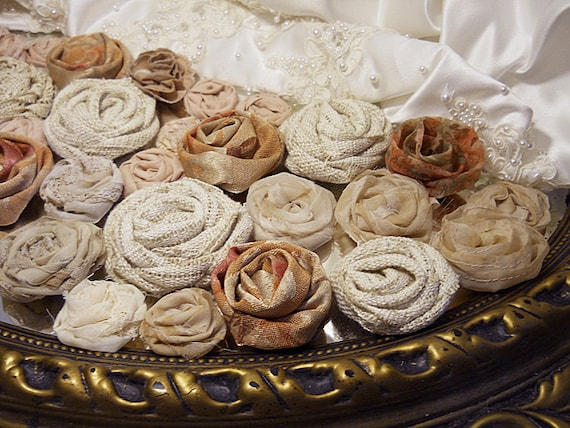 40 Handmade Natural Rosettes for weddings, bouquet making, wedding decor, scrapbooking, gifts, crafts. Natural tones.