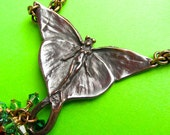 Green Goddess Fairy necklace in bronze, shibuichi, and crystal