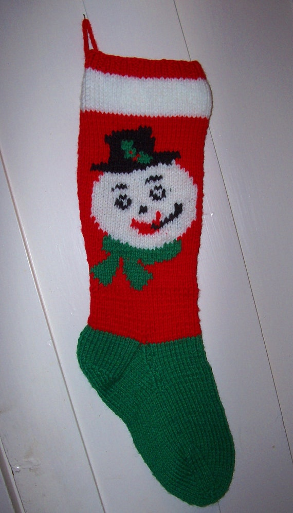Hand Knit Christmas Stocking Patterns : New Hand Knit Christmas Stocking Snowman Face by Topinab ...