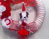 Cute Christmas Handmade Yarn Wreath-Door-Wall Decoration-14 in Wreath- Ready to Ship