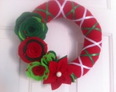 Handmade Holiday Yarn Wreath -10 in wreath