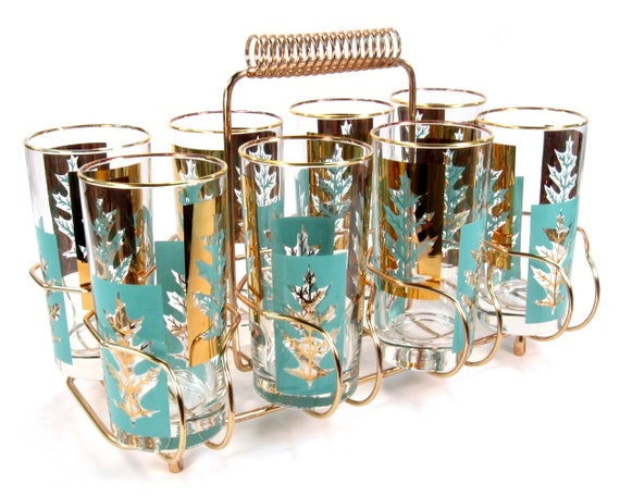 Mid Century Cocktail Glasses Turquoise and Gold Leaf Design / Set of Eight with Caddy / Mad Men Cocktail Party