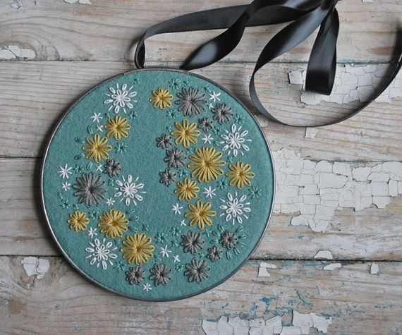 Hoop Art Hand Embroidered Felt Aloe Green Mustard Yellow Pewter Grey in Vintage Metal Hoop Embroidery by love maude