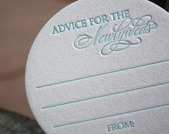 25 Advice for the NEWLYWEDS Coasters, modern design (Letterpress printed, 3.5 inches circle)