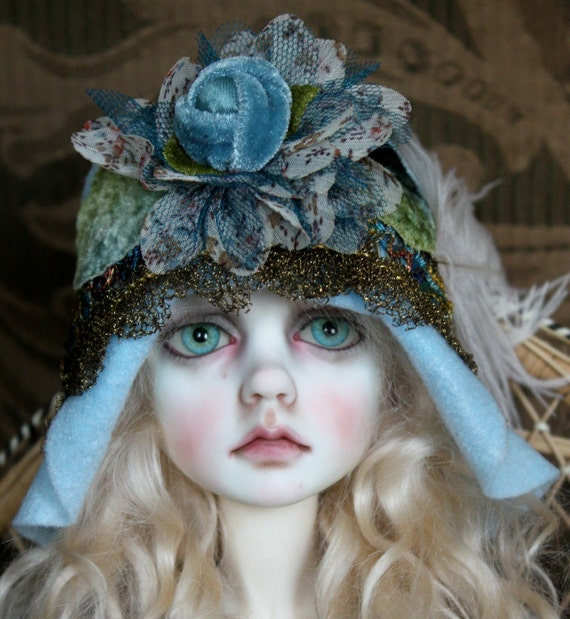Sweet Light Blue Flapper Hat With New and Vintage Trims For Ball Jointed Dolls