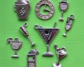 Happy Hour Charm Collection Antique  Silver Tone 9 Different Charms - COL145