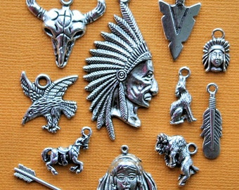 Native American Charm Collection Antique  Silver Tone The Ultimate 12 Different Charms - COL129