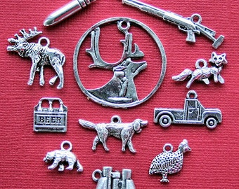 Hunting Charm Collection Antique  Silver Tone The Ultimate 11 Different Charms - COL123