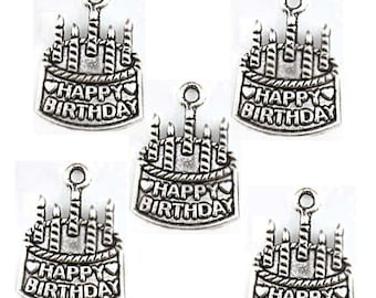 BULK 30 Birthday Charms Antique Silver Tone Cake with Candles - SC1805