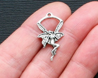 12 Fairy Charms Antique  Silver Tone Intricate and Dainty - SC1451