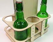 Reusable Eco-Friendly Wooden Beer Caddy for 16oz Grolsch Bottles