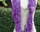 Beautiful Sari Ribbon In Shades Of Lilacs Bright Purple and Lavenders 100 Gram Skein 60 To 70 Yards