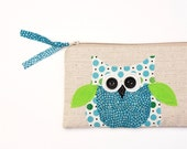 SALE best friend birthday gift, blue owl zipper pouch, pencil bag, READY to SHIP by mamableudesigns on etsy