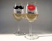 Mr and Mrs Stemmed Wine Glasses