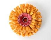 Magnet, Handmade Paper Flower - Yellow, Gold, Mustard, Goldenrod, Maroon, Dark Red, Rust, Orange, Autumn, Fall, Classroom Decor