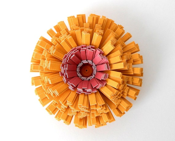 Magnet, Handmade Paper Flower - Yellow, Gold, Mustard, Goldenrod, Maroon, Dark Red, Rust, Orange, Autumn, Fall, Classroom Decor