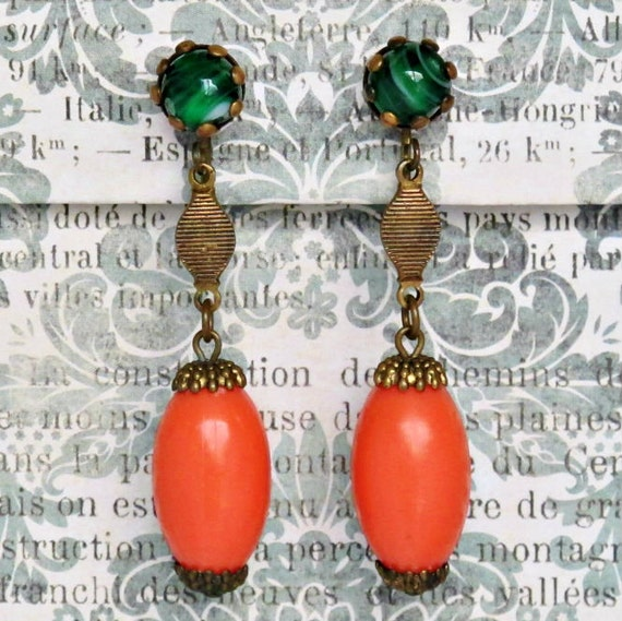 Vintage Dangle Earrings ... Green And Orange Glass Clipon