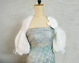 Knit Shrug Pattern, Puff Sleeve Bolero Shrug Knitting Pattern, Wedding Bridal Wrap Pattern, 30