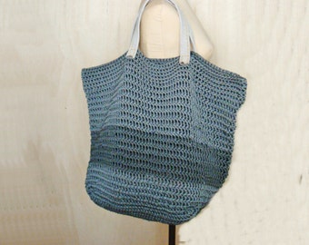 Large Tote Bag Crochet Pattern, Oversized Bag Pattern, with Leather Handles